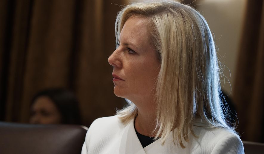 Secretary of Homeland Security Kirstjen Nielsen listens as President Donald Trump speaks during a cabinet meeting at the White House, Thursday, June 21, 2018, in Washington. (AP Photo/Evan Vucci)
