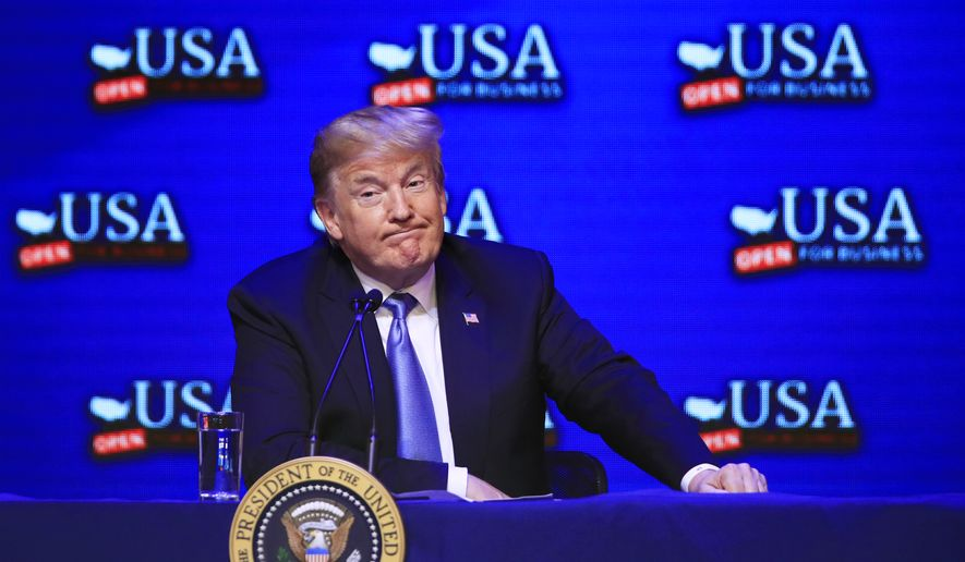 President Donald Trump speaks during a roundtable about the tax reform at the South Point Hotel and Casino in Las Vegas, Nv., Saturday, June 23, 2018. (AP Photo/Manuel Balce Ceneta)