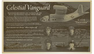 This June 2018 photo provided by Innovative Signs, Inc. in Longwood, Fla., shows a plaque that will be dedicated Saturday, June 23, 2018, in Valdez, Alaska. The memorial honors four Alaska Air National Guard members who died in a plane crash while conducting a humanitarian mission following the devastating magnitude 9.2 earthquake, which destroyed Valdez in March 1964. (Photo courtesy Innovate Signs, Inc. via AP)