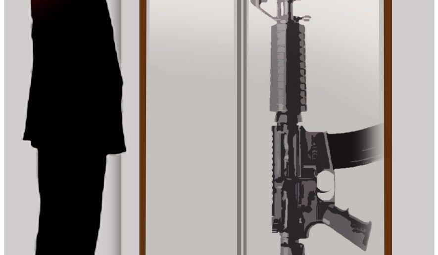 Illustration on Mass shootings and mental health by Alexander Hunter/The Washington Times
