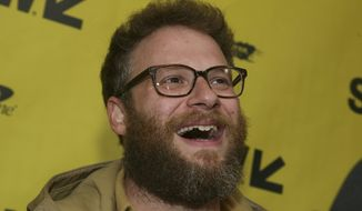 "FILE - In this March 12, 2017, file photo, Seth Rogen arrives for ""The Disaster Artist"" at the Paramount Theatre during the South by Southwest Film Festival in Austin, Texas. Rogen became an honorary member of the Pi Kappa Alpha fraternity chapter at the University of Vermont on April 17, 2017. (Photo by Jack Plunkett/Invision/AP, File)"