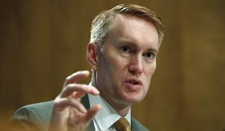 Sen. James Lankford, R-Okla., asks a question during a Senate Governmental Affairs subcommittee hearing on international mail and the opioid crisis, Thursday, Jan. 25, 2018, on Capitol Hill in Washington. (AP Photo/Jacquelyn Martin) ** FILE **