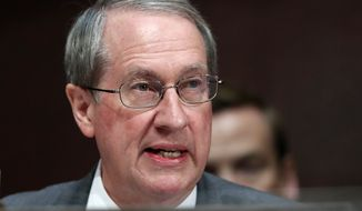 Rep. Bob Goodlatte, R-Va., chair of the House Committee on the Judiciary, speaks during a joint House Committee on the Judiciary and House Committee on Oversight and Government Reform hearing examining the Inspector General's report of the FBI's Clinton email probe, on Capitol Hill, Tuesday, June 19, 2018 in Washington. (AP Photo/Jacquelyn Martin)