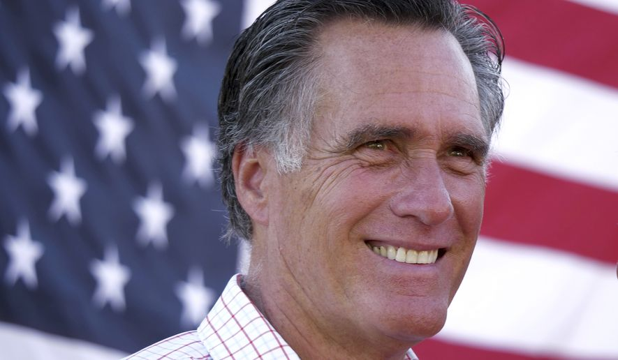 In this Wednesday, June 20, 2018, photo, Mitt Romney speaks during a campaign stop in American Fork, Utah. Romney is flashing his familiar smile at city parks and backyards in Utah's mountains and suburbs this week, making his final pitch after being forced into a Republican primary against a conservative state lawmaker. At stake is being the party's representative to vie for the Senate seat long held by retiring Republican Sen. Orrin Hatch. (AP Photo/Rick Bowmer)