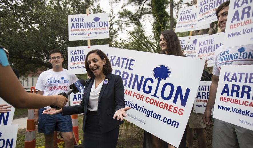 In this June 12, 2018, file photo, South Carolina Rep. Katie Arrington, who is running for the first district of South Carolina, campaigns after voting for herself in the primary election at Bethany United Methodist Church in Summerville. Arrington, who defeated U.S. Rep. Mark Sanford in his re-election bid, has been seriously injured in a deadly wreck. Spokesman Michael Mule tells media outlets Arrington has undergone surgery for her injuries and was recovering Saturday, June 23, 2018, in a Charleston-area hospital. (Kathryn Ziesig/The Post And Courier via AP, File)