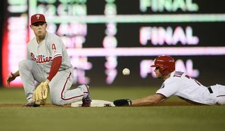 Washington Nationals' Trea Turner, right, steals second against Philadelphia Phillies short stop Scott Kingery (4) during the first inning of a baseball game, Sunday, June 24, 2018, in Washington. (AP Photo/Nick Wass)