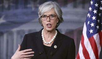 In this Jan. 12, 2017, file photo, Rep. Katherine Clark, D-Mass., speaks during a news conference on Capitol Hill in Washington. (AP Photo/Manuel Balce Ceneta, File)