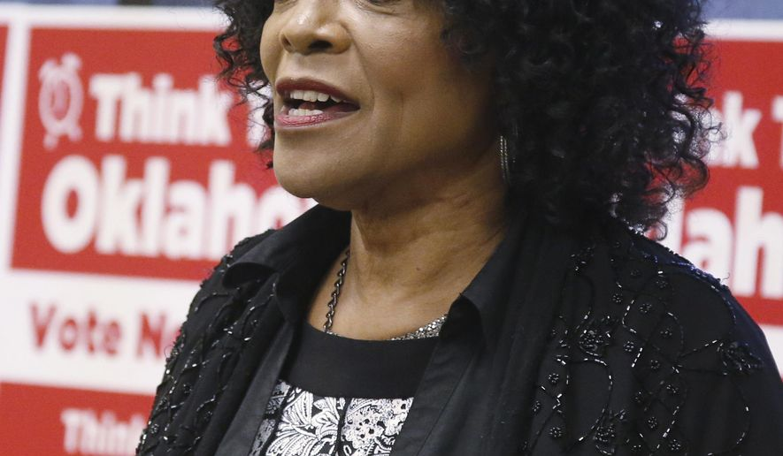 FILE - In this Oct. 19, 2016, file photo, former Oklahoma state Sen. Connie Johnson speaks in Oklahoma City. Johnson is running for the Democratic nomination for Oklahoma Governor. (AP Photo/Sue Ogrocki, File)