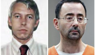 FILE - This combination of photos shows Dr. Richard Strauss, left, from a 1978 Ohio State University employment application, and Michigan State doctor Dr. Larry Nassar, right, during a Nov. 22, 2017 plea hearing in Lansing, Mich. Ohio State is investigating accusations against Strauss, a former team physician at the school, only months after Nassar was convicted and imprisoned for molesting women and girls. Some schools are exploring whether more oversight is needed for figures in such powerful positions. (Ohio State University and AP Photo/Paul Sancya, File)