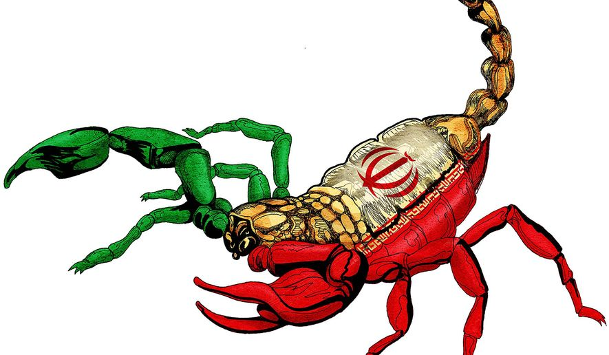 Iran Scorpion Illustration by Greg Groesch/The Washington Times