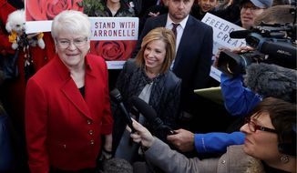 Barronelle Stutzman (left), a florist in Washington state, said she considered a plaintiff in her Supreme Court case to be a friend. Justices ordered lower courts to take a new look at Ms. Stutzman's case because of her religious objection to same-sex marriage. (Associated Press/File)