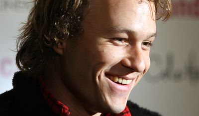 """Heath Ledger arrives for the premiere of his new film """"Candy"""" in New York. Ledger, the talented 28-year-old actor who gravitated toward dark, brooding roles that defied his leading-man looks, was found dead in a Manhattan apartment. Ledger died on 22 January 2008 from an accidental intoxication from prescription drugs. He was 28. (AP Photo/Dima Gavrysh)"""