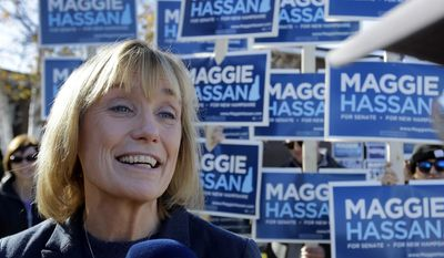FILE - In this Nov. 8, 2016 file photo, New Hampshire Democratic Senate candidate, Gov. Maggie Hassan speaks to reporters outside a polling place in Portsmouth, N.H. Hassan officially becomes a U.S. senator on Wednesday, Jan. 4, 2017, ending four years of leading New Hampshire from the corner office. Her two terms in office were marked by accomplishments, including providing subsidized health care to 50,000 low-income people, and failures, such as her unsuccessful drive to legalize a casino in New Hampshire. Perhaps the greatest challenge that faced Hassan was the opioid and heroin crisis, which the state has struggled to contain.  (AP Photo/Elise Amendola, File)
