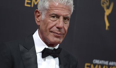 Anthony Bourdain arrives at night two of the Creative Arts Emmy Awards at the Microsoft Theater in Los Angeles.   Bourdain has been found dead in his hotel room, Friday, June 8, 2018.  Bourdain died of an apparentsuicide by hangingin his room at Le Chambard hotel inKaysersberg, France. He was 61.  (Photo by Richard Shotwell/Invision/AP, File)