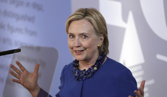 Hillary Clinton delivers the Romanes Lecture at University of Oxford's Sheldonian Theatre in Oxford, England, on June 25, 2018. (Steve Parsons/PA via AP) **FILE**
