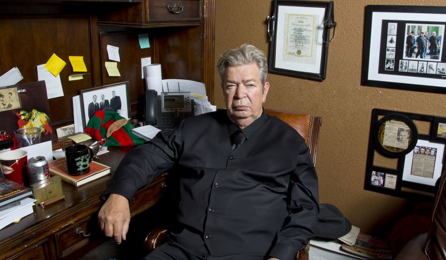 "This undated image released by History shows Richard Harrison from ""Pawn Stars."" Harrison's son Rick posted on Facebook, Monday, June 25, 2018, that his father died. He said his father was surrounded by family over the weekend. The Navy veteran opened the Gold & Silver Pawn store in Las Vegas with his son, Rick.  The TV show premiered in 2009 and features the Harrisons interacting with customers who are trying to sell or pawn objects. (History via AP)"