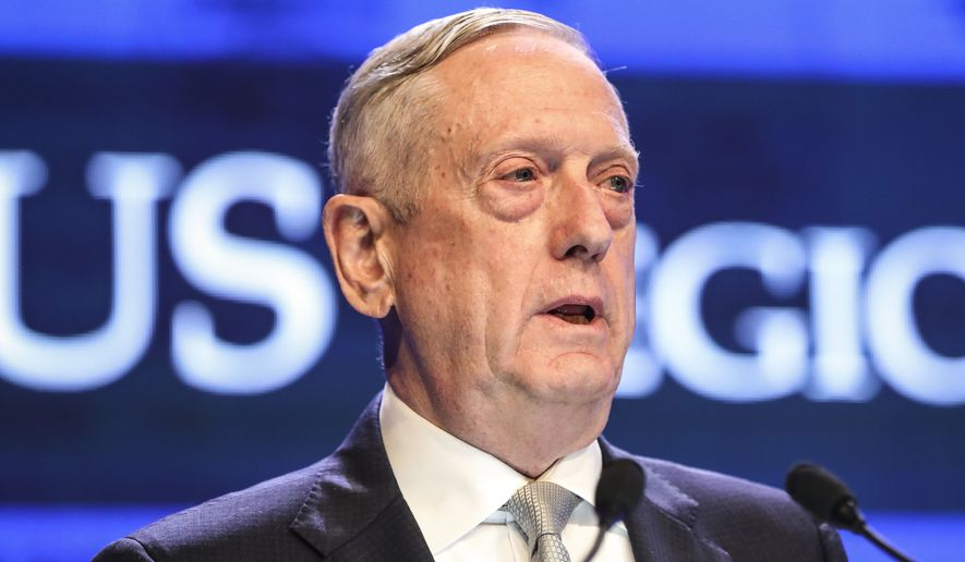 In this June 2, 2018, file photo, U.S. Defense Secretary Jim Mattis delivers his speech during the first plenary session of the 17th International Institute for Strategic Studies (IISS) Shangri-la Dialogue, an annual defense and security forum in Asia, in Singapore. (AP Photo/Yong Teck Lim, File)