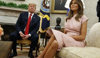 President Donald Trump sits with first lady Melania Trump during a meeting with King Abdullah II of Jordan and Queen Rania at the White House, Monday, June 25, 2018, in Washington. (AP Photo/Evan Vucci)