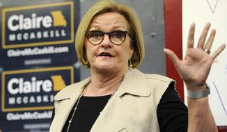 FILE - In this May 18, 2018, file photo, Sen. Claire McCaskill, D-Mo., speaks to supporters at the opening of her campaign field office in Ferguson, Mo. McCaskill remains on the campaign trail with a cracked rib after a fellow senator performed the Heimlich maneuver on her when she began choking. (AP Photo/Bill Boyce, File)