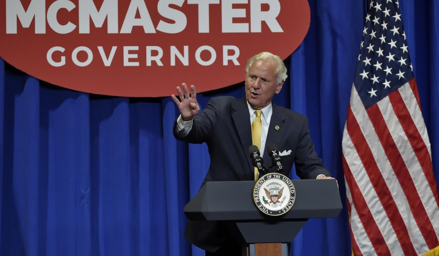 Gov. Henry McMaster speaks to the crowd in the William-Brice Kimbel Arena on the Coastal Carolina campus Saturday, June 23, 2018, in Conway, S.C. (AP Photo/Richard Shiro)