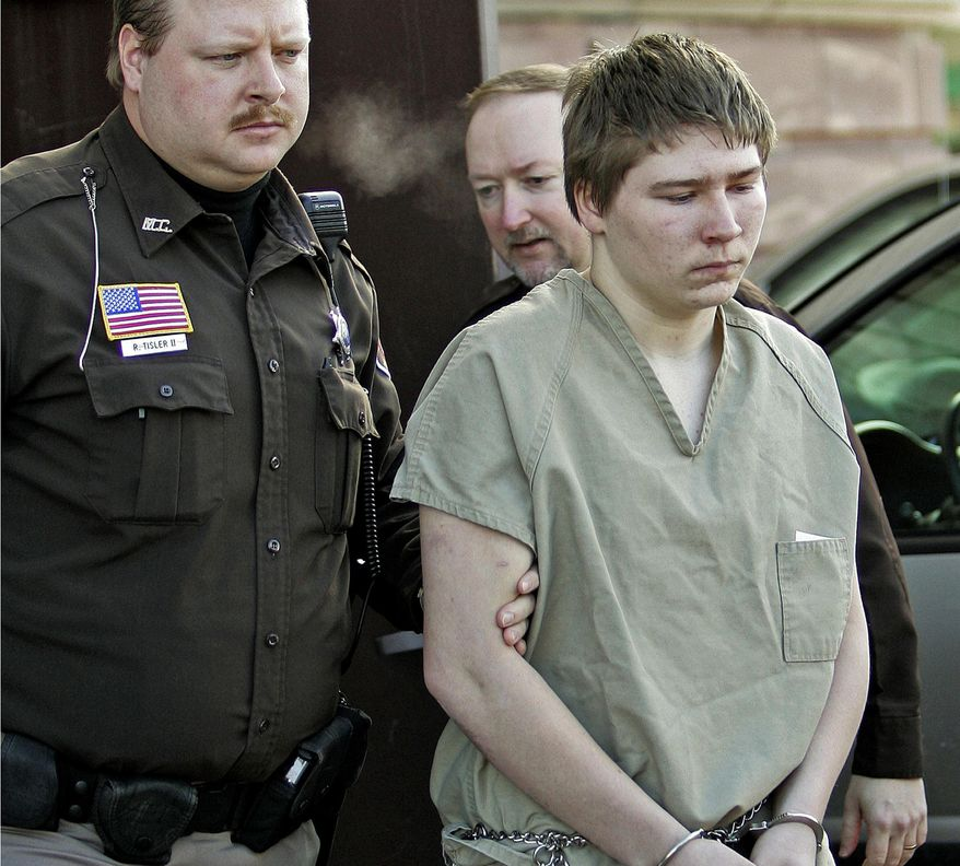FILE - In this March 3, 2006, file photo, Brendan Dassey, is escorted out of a Manitowoc County Circuit courtroom in Manitowoc, Wis. Lawyers for Dassey are hoping the Supreme Court will agree to take his case.  AP Photo/Morry Gash, File)