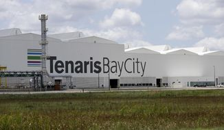 The Tenaris $1.8 billion state-of-the-art seamless pipe mill is shown Wednesday, June 6, 2018, in Bay City, Texas. Tenaris, which imports steel from it's facilities around the world, is seeking an exemption from the steel tariff. (AP Photo/David J. Phillip)