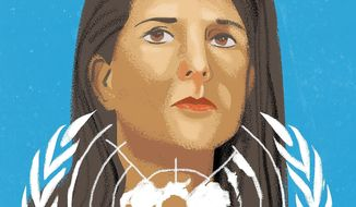 Nikki Haley illustration by Linas Garsys/The Washington Times