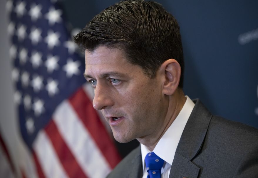 Speaker of the House Paul Ryan, R-Wis., talks to reporters following a closed-door GOP strategy session at the Capitol in Washington, Tuesday, June 26, 2018. Ryan has scheduled a long-awaited showdown vote on a broad Republican immigration bill for Wednesday, but he's showing little confidence that the package will survive. (AP Photo/J. Scott Applewhite)