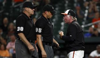 Baltimore Orioles manager Buck Showalter, right, argues with home plate umpire Stu Scheurwater, center, after Scheurwater said Orioles relief pitcher Darren O'Day balked in the ninth inning of a baseball game against the Seattle Mariners, Monday, June 25, 2018, in Baltimore. Showalter and O'Day were ejected from the game. Also pictured is umpire Gary Cederstrom, at left. (AP Photo/Patrick Semansky)