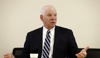 In this Tuesday, Jan. 16, 2018, file photo, Sen. Ben Cardin, D-Md., talks after speaking with members of the Downtown Partnership of Baltimore, in Baltimore. (AP Photo/Patrick Semansky, File)