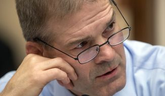Rep. Jim Jordan, R-Ohio, a member of the House Judiciary Committee, comments during a meeting on their months-long standoff with the Justice Department on the request by the Republican-controlled panel for documents related to the origins of the FBI's Russia investigation and the handling of its probe into Democrat Hillary Clinton's emails, on Capitol Hill in Washington, Tuesday, June 26, 2018. (AP Photo/J. Scott Applewhite)