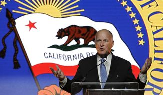 FILE -- In this May 24, 2018 file photo Gov. Jerry Brown speaks at the annual Sacramento Host Breakfast in Sacramento, Calif. A citizen board approved a 3 percent pay raise for Brown, state lawmakers and other elected officials, Tuesday, June 26, 2018. Brown's salary will rise from roughly $196,000 to nearly $202, 000 while members of the Legislature will get a $3,5000 raise to about $110,000. (AP Photo/Rich Pedroncelli, file)