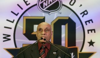FILE - In this Jan. 25, 2008, file photo, Willie O'Ree, the first black to play in the National Hockey League, speaks during the NHL's Diversity Luncheon in Atlanta. The Hockey Hall of Fame has added Willie O'Ree, the first black player in the National Hockey League, to its latest class, Tuesday, June 26, 2018. (AP Photo/John Bazemore, File) **FILE**