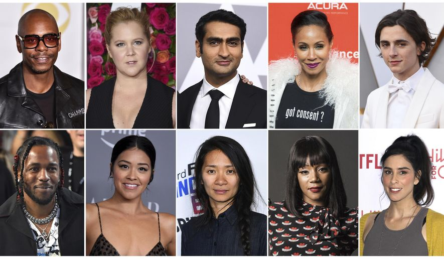 This combination photo shows, top row from left, Dave Chappelle, Amy Schumer, Kumail Nanjiani, Jada Pinkett Smith and Timothee Chalamet, and bottom row from left, Kendrick Lamar, Gina Rodriguez, Chloe Zhao, Tiffany Haddish and Sarah Silverman who are among 928 people invited to become members of the Academy of Motion Picture Arts and Sciences. (AP Photo)