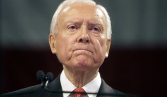 In this April 23, 2016, file photo, Sen. Orrin Hatch, R-Utah, speaks during the Utah Republican Party 2016 nominating convention in Salt Lake City. (AP Photo/Rick Bowmer, File)