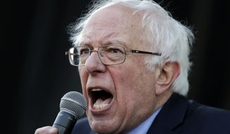 Sen. Bernie Sanders, I-Vt., speaks at a rally commemorating the 50th anniversary of the assassination of the Rev. Martin Luther King Jr. Wednesday, April 4, 2018, in Memphis, Tenn. King was assassinated April 4, 1968, while in Memphis supporting striking sanitation workers. (AP Photo/Mark Humphrey)