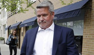 FILE - In this April 24, 2017, file photo, then-Fox News co-president Bill Shine, right, leaves a New York restaurant. President Donald Trump is expected to name Shine as director of White House press and communications. That's according to a person familiar with Trump's thinking, who spoke on condition of anonymity to discuss the president's plans. (AP Photo/Mark Lennihan, File)