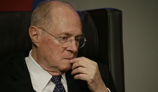 Supreme Court Justice Anthony Kennedy speaks to faculty members at the University of Pennsylvania law school, Thursday, Oct. 3, 2013, in Philadelphia. (AP Photo/Matt Slocum)