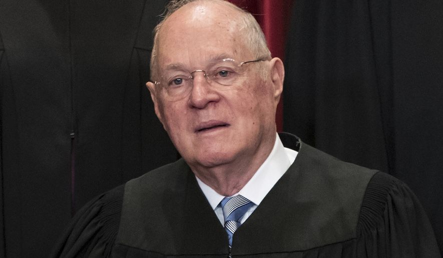 In this June 1, 2017, file photo, Supreme Court Associate Justice Anthony M. Kennedy joins other justices of the U.S. Supreme Court for an official group portrait at the Supreme Court Building in Washington. The 81-year-old Kennedy said Tuesday, June 27, 2018, that he is retiring after more than 30 years on the court.(AP Photo/J. Scott Applewhite, File)