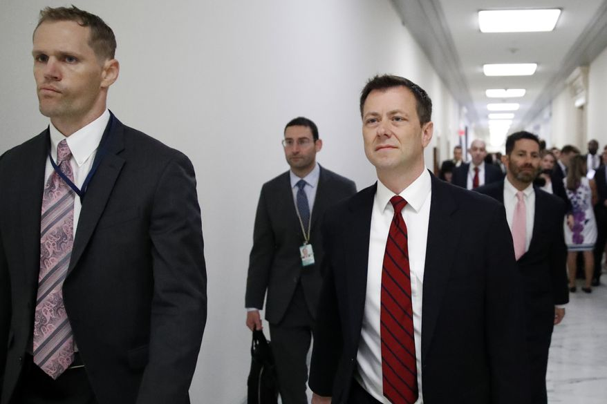 Peter Strzok, second from right, the FBI agent facing criticism following a series of anti-Trump text messages, walks to gives a deposition before the House Judiciary Committee on Capitol Hill in Washington, Wednesday, June 27, 2018. (AP Photo/Alex Brandon) ** FILE **