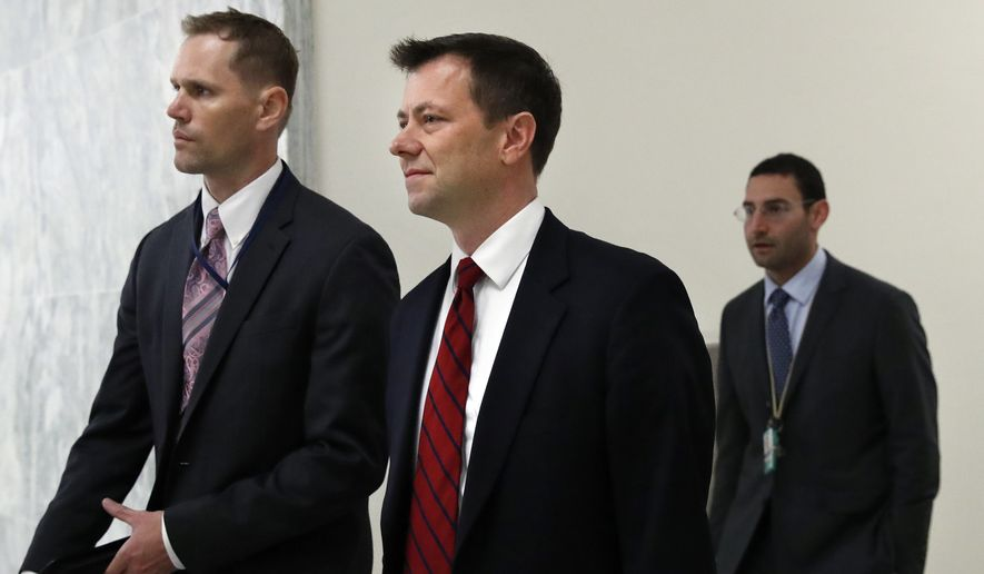Peter Strzok, center, the FBI agent facing criticism following a series of anti-Trump text messages, arrives to appear before the House Judiciary Committee, Wednesday, June 27, 2018, on Capitol Hill in Washington. (AP Photo/Jacquelyn Martin)