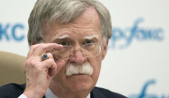 U.S. National security adviser John Bolton listens to question as speaks to the media after his talks with Russian President Vladimir Putin in Moscow, Russia, Wednesday, June 27, 2018. A foreign affairs adviser to Russian President Vladimir Putin said Wednesday that Moscow and Washington have agreed on the date and location for a summit of Putin and U.S. President Donald Trump.Presidential adviser Yuri Ushakov made the announcement after a meeting in Moscow between Putin and U.S. National Security Adviser John Bolton.  (AP Photo/Alexander Zemlianichenko)