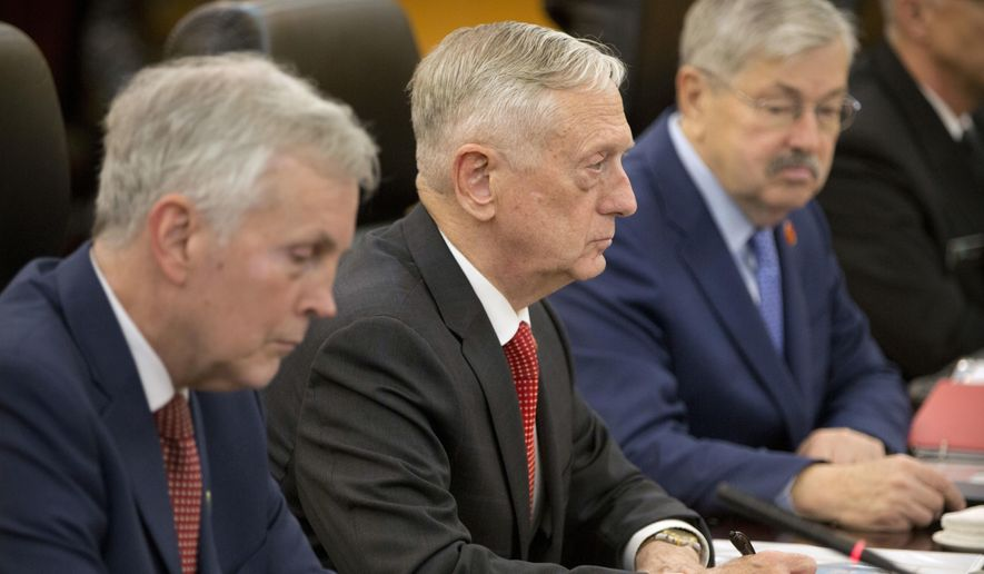 U.S. Defense Secretary Jim Mattis, center, speaks during a meeting with China's Defense Minister Wei Fenghe at the Bayi Building in Beijing, Wednesday, June 27, 2018. (AP Photo/Mark Schiefelbein, Pool)