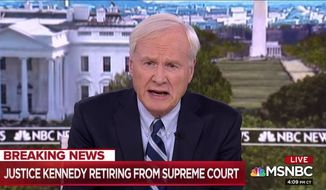 MSNBC's Chris Matthews is shown here in a June 27, 2018 screen capture from MSNBC programming.