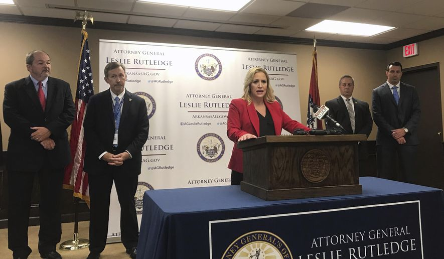 "Arkansas Attorney General Leslie Rutledge speaks at a news conference at her office, Wednesday, June 27, 2018 in Little Rock, Ark. Rutledge on Wednesday announced her office is forming a ""public integrity"" division within its special investigations department that will look into and prosecute corruption cases involving public officials. (AP Photo/Andrew DeMillo)"