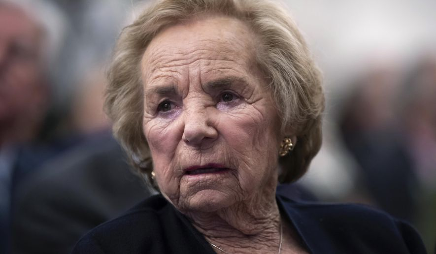FILE - In this June 5, 2018, file photo, Ethel Kennedy, widow of Senator Robert F. Kennedy who was assassinated during his 1968 presidential campaign, watches a video about her late husband during the Robert F. Kennedy Human Rights awards ceremony on Capitol Hill in Washington. Ethel Kennedy plans to take part in a hunger strike to protest the separation of immigrant families. (AP Photo/J. Scott Applewhite, File)