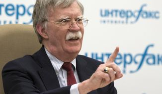 U.S. National Security Adviser John Bolton gestures while speaking to the media after his talks with Russian President Vladimir Putin in Moscow, Russia, Wednesday, June 27, 2018. (AP Photo/Alexander Zemlianichenko)