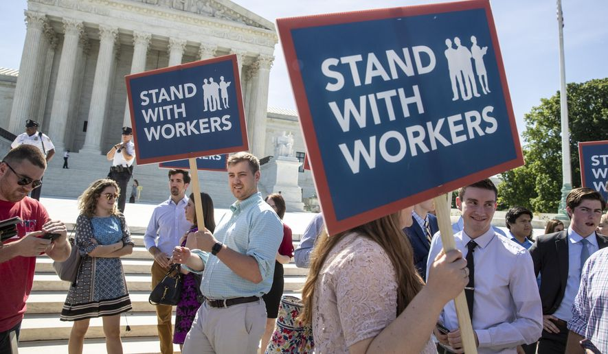 In Janus v. AFSCME, the Supreme Court decided last year that government workers can't be forced to contribute to labor unions that represent them in collective bargaining. (Associated Press/File)