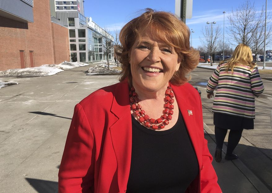 Democratic U.S. Sen. Heidi Heitkamp in Grand Forks, N.D. President Donald Trump's stepped-up campaign tour the week of June 25, 2018, is taking him to North Dakota to help U.S. Rep. Kevin Cramer, a Republican candidate who reluctantly entered the high-stakes Senate race and then questioned the support he has received from the White House. Cramer made it clear he was less than happy with Trump's friendly treatment of his opponent, Heitkamp. (AP Photo/James MacPherson, File)