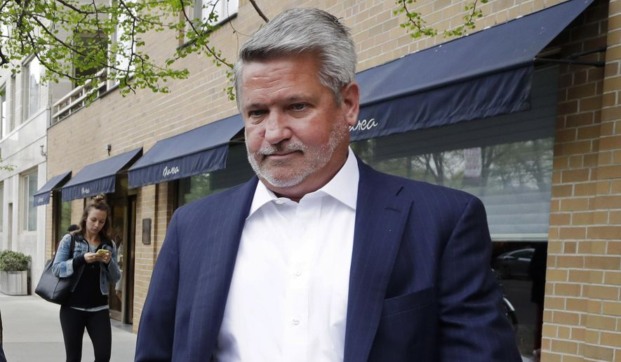 In this April 24, 2017, file photo, then-Fox News co-president Bill Shine, right, leaves a New York restaurant. (AP Photo/Mark Lennihan, File)